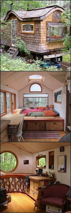This tiny home on wheels is a modern take on those wonderful gypsy wagon one still sees in parts of Europe. Take a tour by viewing the full gallery on our site at theownerbuilderne... It can be used as a tiny home, a weekend cabin, or even as a home office if you choose to set it in your own yard. Could you live in a gypsy wagon? #tinyhomeyard