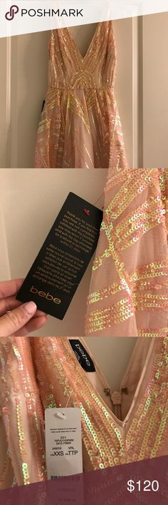 NWT Bebe XS Peach Sequenced Dress NWT Bebe XS Peach Sequenced Dress - never worn. Perfect working zipper, silk underneath and small amount of tooling on the bottom of the skirt. I love this dress more than life itself - so fun, twirlability, etc. bebe Dresses Mini