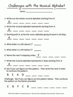 Music Alphabet Challenges for beginners Music Lessons For Kids, Music Lesson Plans, Piano Lessons, Music Theory Worksheets, Piano Classes, Middle School Music, Music Activities, Music Games, Piano Teaching