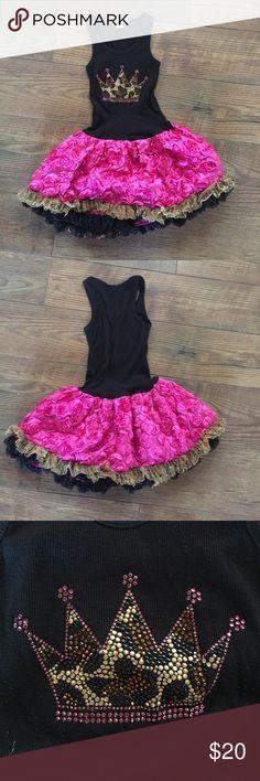 Girls crown Rose tutu dress Girls shirt dress with embellished Crown Jewels Dresses Casual