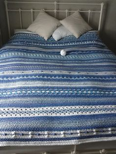 Blue Hotel Blanket, by tempyjo on Ravelry.  She used Julie Harrison's Mixed Stitch Stripey Blanket pattern.  I really like the clean effect of blues (six shades) & soft white, it's easy on the eyes  :-) #crochet #afghan #throw