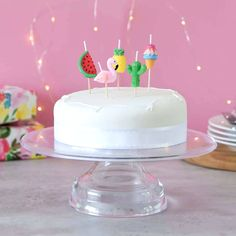 Make your cake a tropical paradise with these fun and vibrant birthday cake candles. This adorable pack of cake candles contains a flamingo, Birthday Cake Bakery, First Birthday Cupcakes, Unicorn Themed Birthday Party, Birthday Chocolates, Birthday Cake With Candles, Birthday Party Tables, Flamingo Birthday, Themed Birthday Cakes, Themed Cakes