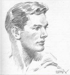 """hotguysinart: """" Sketch by Andrew Loomis, Submitted by Jessle If I looked like this I would be that much closer to world domination. """""""