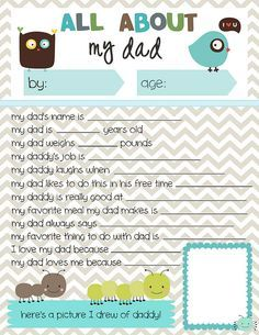 Father's Day Printable Round-Up. All About My Dad from Meet The Dubiens. SunshineandHurricanes.com