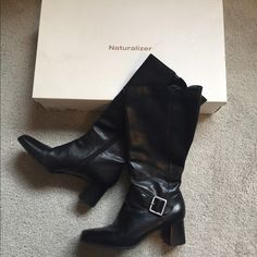 Naturalizer Black Leather Boots These black leather boots from naturalizer are in very good condition and have only minor wear. They are a size 10 and I still have the box as shown. I am accepting reasonable offers on these as well! #naturalizer #leather #boots #black Naturalizer Shoes