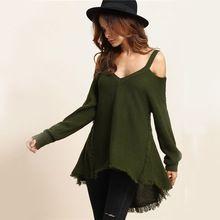 COLROVIE Boho Fringe Green Strap Sweater Pullover Cold Shoulder Women Autumn Jumper 2017 Tassel Hem Loose Long Sexy Slim Sweater