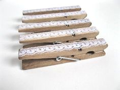 Clothespins - vintage LACE clips - set of 8 - antiqued with lace - wedding favor, party favor, organize, baby shower. $6.00, via Etsy.