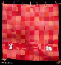 Pale Blue Corner: Memory Quilt in Red