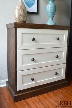 Love this IKEA Rast hack! Transform a boring dresser into a PRETTY and FUNCTIONAL nightstand with paint, stain and a few pieces of trim! Read on to see the tutorial.