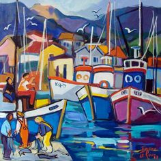 Isabel-le-Roux Art Pictures, Art Images, Waterfall Paintings, Seaside Art, Boat Art, South African Artists, Boat Painting, Naive Art, Art For Art Sake
