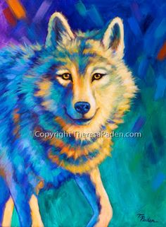 Daily Painters Abstract Gallery: Wolf Art in Vibrant Colors Animal Paintings by Theresa Paden