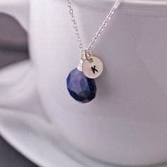 Blue Sapphire Personalized Hand Stamped Necklace  by georgiedesigns