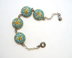 Blue Floral Bracelet Flower Bracelet Gift for Her by BlooMaya