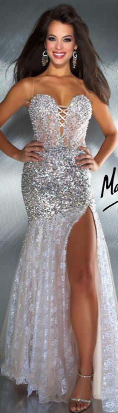 Mac Duggal couture dress ivory / nude MAC DUGGAL PROM STYLE 2682M prom 2013