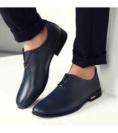 Blue metal design slip on leather dress shoe Mens Casual Leather Shoes, Leather Dress Shoes, Casual Shoes, African Men Fashion, Mens Fashion, White Shoes Men, Gentleman Shoes, Best Shoes For Men, Business Shoes