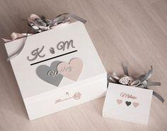 Heart Made - drewniane dodatki. Skrzynia na koperty i pudełko na obrączki.