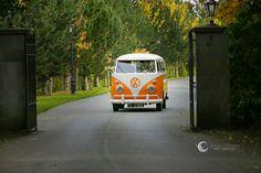 Groom and Best Man arrive in a VW Camper Van