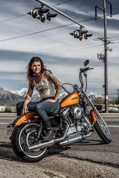 63 Ideas Motorcycle Photography Pin Up for 2019 – *Sport Bikes: Motorcycles – Motorrad Biker T-shirts, Lady Biker, Biker Chick, Biker Girl, Harley Davidson Sportster 1200, Harley Davidson Bikes, Motorbike Girl, Motorcycle Art, Girl Bike