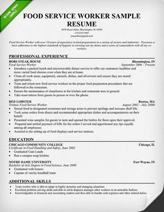 Food service, Resume and Resume examples on Pinterest