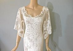 Boho WEDDING Dress Off White vintage LACE Wedding Gown Flutter Sleeve L on Etsy, $368.00