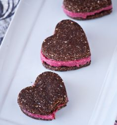 Raw food recipe heart cookie sandwiches