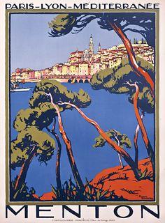 Menton , PLM French Riviera - Broders, Roger vintage travel poster deco #beach #plage #essenzadiriviera.com