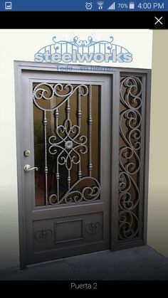 Front Gate Design, Door Gate Design, House Front Design, Iron Garden Gates, Iron Front Door, Window Grill Design, Wrought Iron Doors, Steel Doors, Ceiling Design