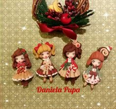 Biscuit, Kawaii, Polymer Clay Dolls, Clay Crafts, Sculpting, Christmas Ornaments, Holiday Decor, Drawings, Craft Ideas