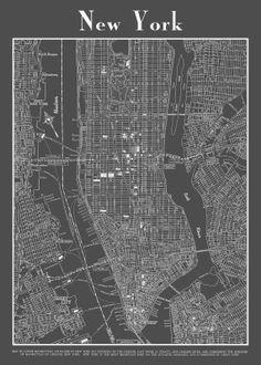 1944 new york city manhattan street map vintage dark by themapshop 2995