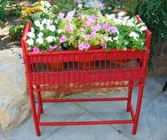 Painted this wicker plant stand red hot