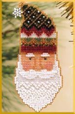 Mill Hill Kris Kringle - Beaded Cross Stitch Kit. Kit Includes: Beads, metal snowflake or brass bell charm, 14ct perforated paper, needles, floss, chart and ins