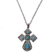 Rustic Teal Cross Necklace