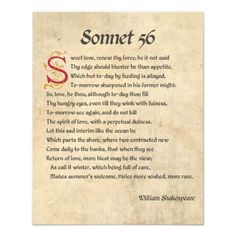 Shakespeare Sonnet 56 - I love the last few lines especially. I can relate!