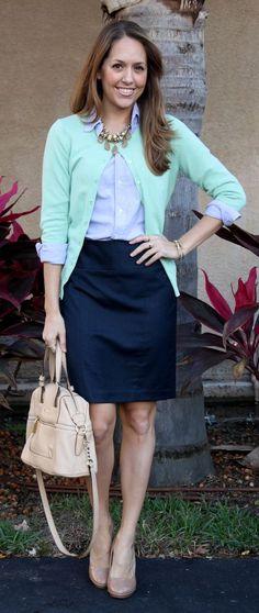 blue-top-black-skirt-and-green-cardigan via