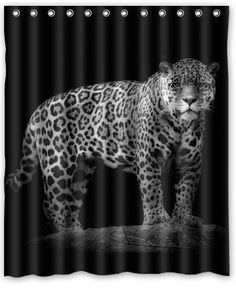 Polyester Leopard Black Shower Curtain (60x72inch)
