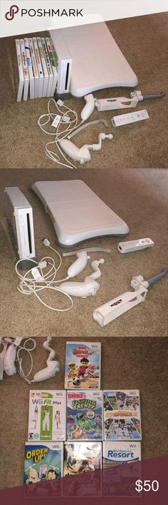 Nintendo Wii & Wii fit Nintendo Wii Console + Wii Fit that also plays gamecube games. Fully tested and works great! See photos for condition. Top lid of wii console is only thing flawed on device. Includes: Sensor bar, power adapter, 1 controllers, 1 wii fit , 1 wii console. Games: Wii resort & Wii fitness & Order up  **NOT AVAILABLE** 1 fishing rod, 2 nunchucks, games: dancing with the stars, fishing frenzy, Beach sports, and deca games (have been sold) Other