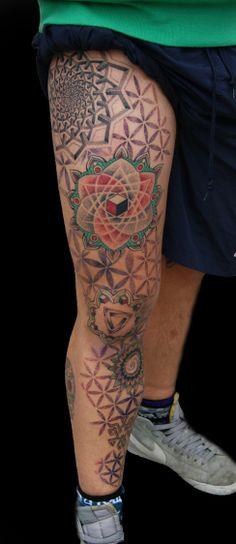 leg tattoo ornamental dotwork mandala optical