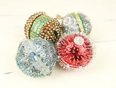 Vintage Sequins & Beads Christmas Ornaments