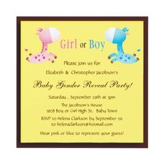 Cute pink and blue giraffes baby gender reveal party invites. $1.90. Decorated both sides. Easy to customize. Good volume discounts.