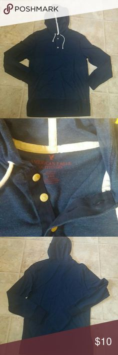 American Eagle Hoodie. Like New! Worn only a couple times. Size Medium. Navy blue with white string and maroon American Eagle symbol on bottom as shown. American Eagle Outfitters Shirts Sweatshirts & Hoodies