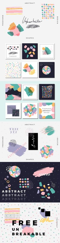 Unbreakable - Freehand Abstract Design by Paperly Studio Free, Abstract, Design set - Presenting Unbreakable. Artistic modern design elements, pre-designed cards are included, in vector and Design Set, Web Design, Pattern Design, Modern Design, Pattern Ideas, Dots Design, Pattern Art, Birthday Background Design, Party Background