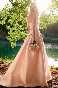 cymbeline bridal 2015 isar pink color strapless ball gown wedding dress