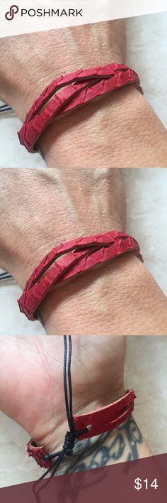 Gorgeous snake leather friendship bracelet Handmade in Bali from dyed snake leather gorgeous woven friendship design features adjustable slip knot back for a universal fit. Great piece for layering, perfect holiday gift. Happy shopping:) handmade Jewelry Bracelets
