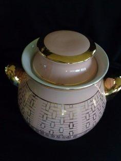 1950's HALL'S Zeisel Pink & Gold Basket Weave Cookie Jar # 1566 MINT