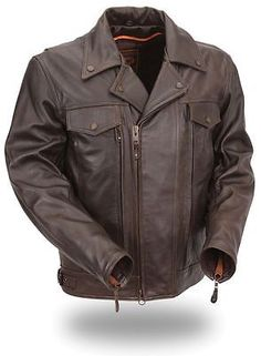 Mens Brown Leather Utility Cruising Motorcycle Jacket