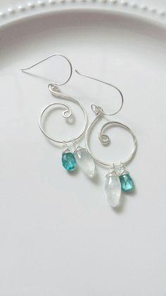 Rainbow Moonstone Earrings Sterling Silver by BlackwoodArts