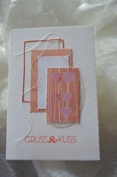 Gruss&Kuss: Designpapier und Stanzen Alexandra Renke, Cardstock SU, Büttenkarte Bösner
