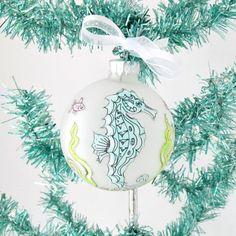 Seahorse Zentangle Christmas Bulb, Seahorse Xmas Tree Ornament, Handpainted Seahorse Ornament, Xmas Ornament,Coastal Beach Christmas Decor by SandisShellscapes on Etsy
