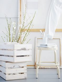 Difficulty level: Easy Give your basic storage crate a beachy feel for summer by giving it a quick white coat of paint. Head over to Livet Hemma for this whitewash DIY.