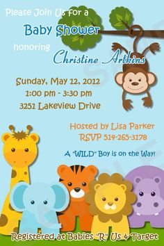 Safari Jungle Animals - Boy or Girl - Custom Baby Shower Invitation - DIGITAL - Matching Birthday, Stickers and Other Party Favors Available